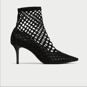 Zara Fishnet court heels
